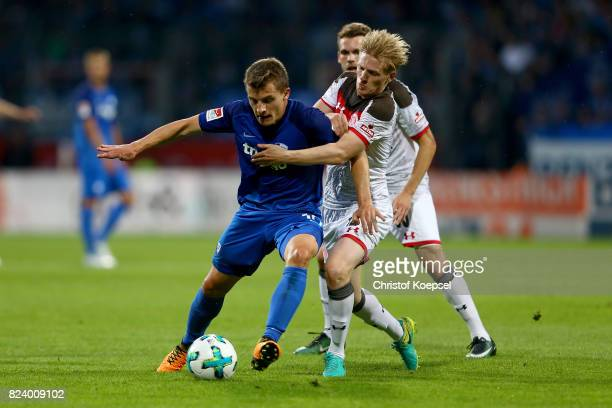 Mats Moeller Daehli of St Pauli challenges Thomas Eisfeld of Bochum during the Second Bundesliga match between VfL Bochum 1848 and FC St Pauli at...