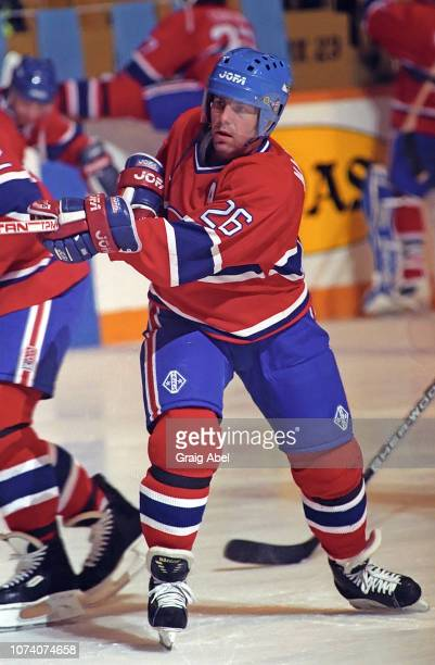 Mats Naslund of the Montreal Canadiens skates against the Toronto Maple Leafs during NHL game action on January 27 1990 at Maple Leaf Gardens in...