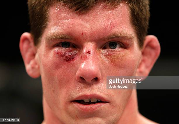 Mats Nilsson is seen in the Octagon after his TKO loss to Luke Barnatt in their middleweight fight during the UFC Fight Night London event at the O2...