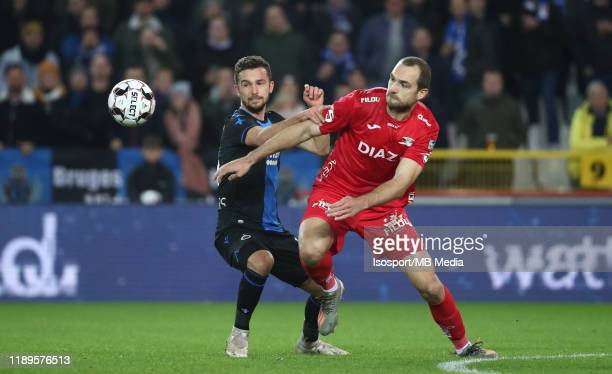 Mats Rits of Club Brugge battles for the ball with Goran Milovic of Kv Oostende during the Jupiler Pro League match between Club Brugge and KV...