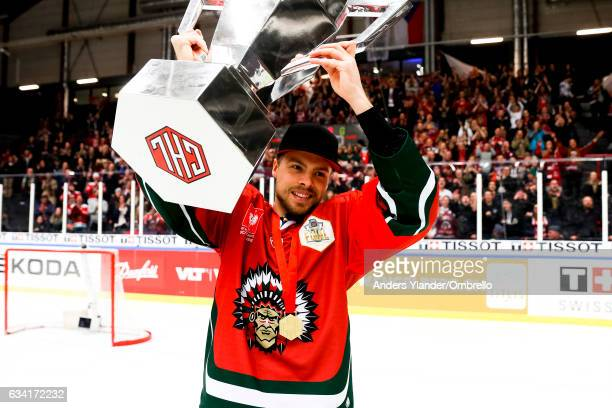 Mats Rosseli-Olsen celebrates after the victory during the Champions Hockey League Final between Frolunda Gothenburg and Sparta Prague at...