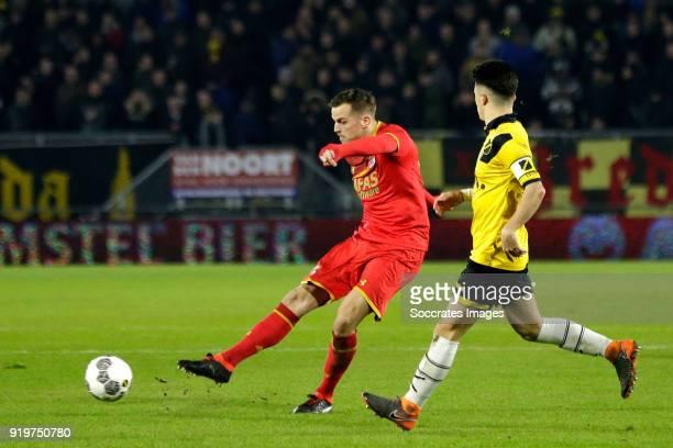 Mats Seuntjens of AZ Alkmaar scores the third goal to make it 03 Manu Garcia Alonso of NAC Breda during the Dutch Eredivisie match between NAC Breda...