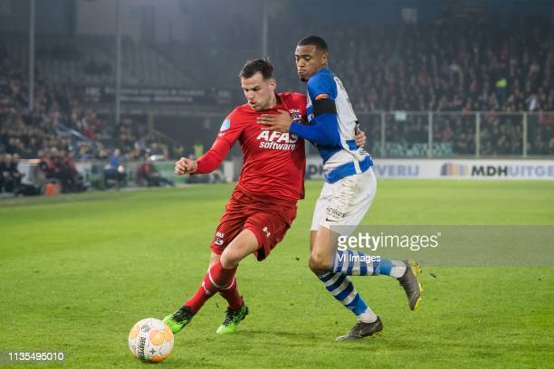 Mats Seuntjens of AZ Delano Burgzorg of De Graafschap during the Dutch Eredivisie match between De Graafschap Doetinchem and AZ Alkmaar at De...