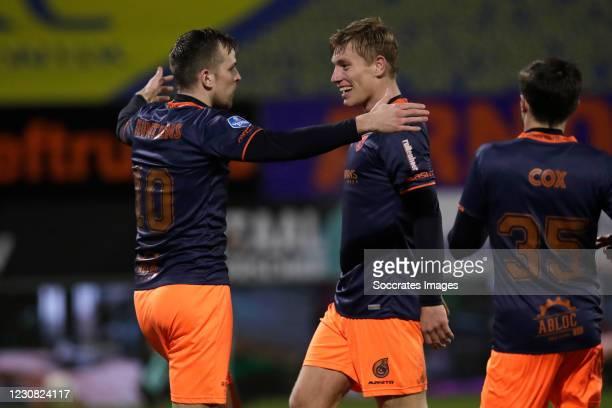 Mats Seuntjens of Fortuna Sittard celebrates 0-1 with Zian Flemming of Fortuna Sittard during the Dutch Eredivisie match between RKC Waalwijk v...