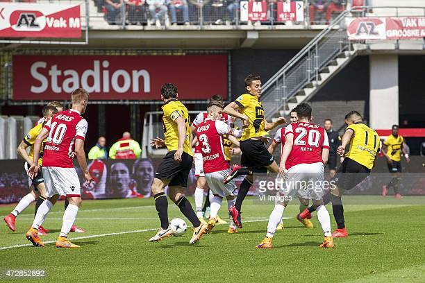 Mats Seuntjens of NAC Breda, Mattias Johansson of AZ, Markus Henriksen of AZ, Dirk Marcellis of NAC Breda, Jeffrey Gouweleeuw of AZ, Uros Matic of...