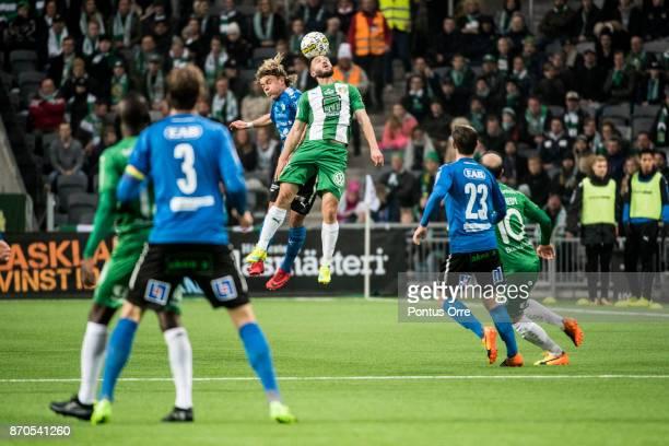 Mats Solheim of Hammarby IF and Höskuldur Gunnlaugsson of Halmstad BK during the Allsvenskan match between Hammarby IF and Halmstad BK at Tele2 Arena...