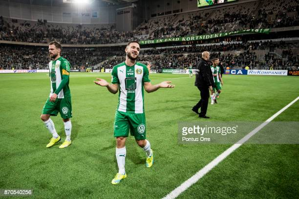 Mats Solheim of Hammarby IF talk to the fans after the loss against of Halmstad BK during the Allsvenskan match between Hammarby IF and Halmstad BK...