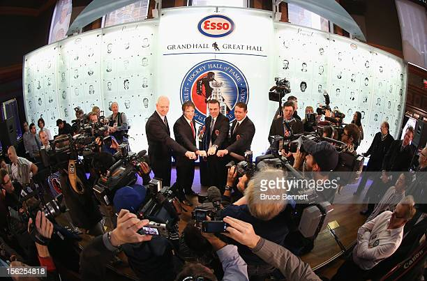 Mats Sundin, Joe Sakic, Adam Oates and Pavel Bure pose for a photo opportunity at the Hockey Hall of Fame on November 12, 2012 in Toronto, Canada....