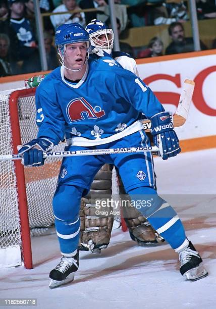 Mats Sundin of the Quebec Nordique skates against the Toronto Maple Leafs during NHL game action October 10, 1990 at Maple Leaf Gardens in Toronto,...