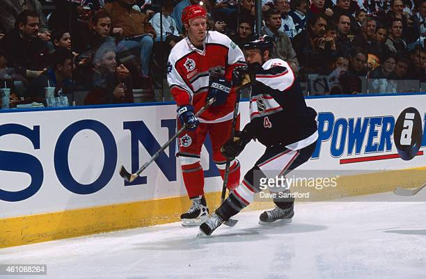 Mats Sundin of the the World Team skates against the North American Team during the NHL AllStar Game at the Air Canada Centre on February 6 2000 in...