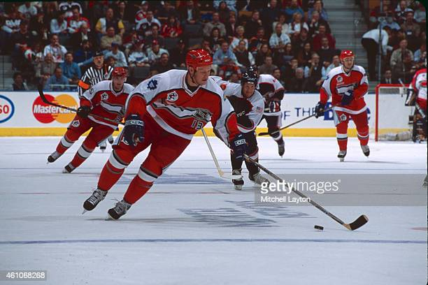 Mats Sundin of the the World Team skates with the puck during the NHL AllStar Game at the Air Canada Centre on February 6 2000 in Toronto Ontario