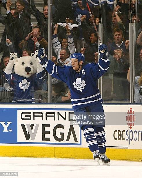 Mats Sundin of the Toronto Maple Leafs celebrates his game tying goal against the Philadelphia Flyers late in the third period in Game six of the...