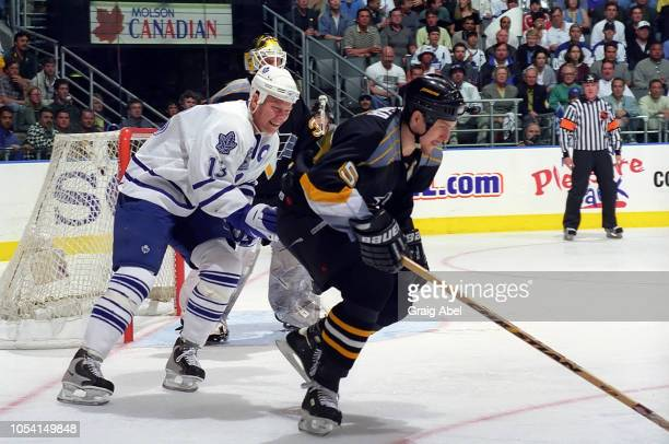 Mats Sundin of the Toronto Maple Leafs skates against Brad Werenka of the Pittsburgh Penguins during the 1999 Quarter Finals of the NHL playoff game...
