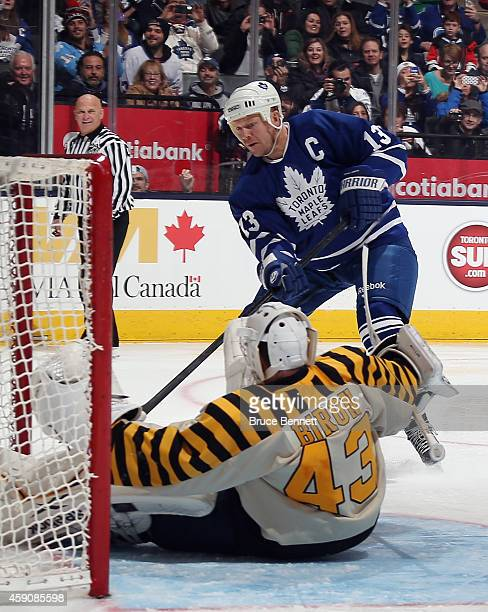Mats Sundin scores past Martin Biron during the Hockey Hall of Fame Legends Classic Game at the Air Canada Centre on November 16 2014 in Toronto...
