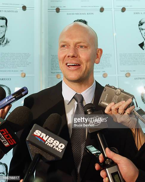 Mats Sundin speaks with reporters at the Hockey Hall of Fame on November 12 2012 in Toronto Canada Sundin will be inducted into the Hall during a...