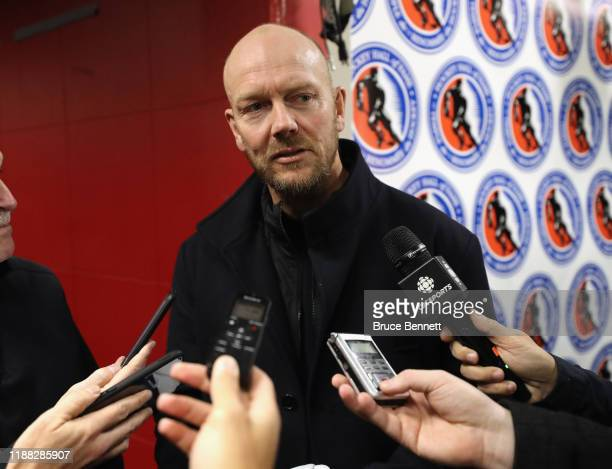 Mats Sundin speaks with the media prior to the Legends Classic game at Scotiabank Arena on November 17, 2019 in Toronto, Ontario, Canada.