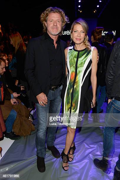 Mats Wahlstroem and Ursula Karven attend the Laurel show during the MercedesBenz Fashion Week Berlin Autumn/Winter 2015/16 at Brandenburg Gate on...