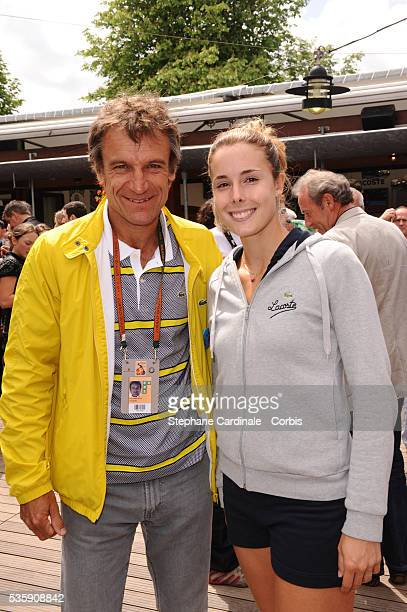 Mats Wilander and Alizee Cornet at Roland Garros Village