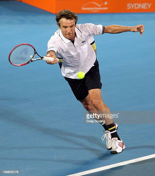 Mats Wilander during his match against John McEnroe during day three of the Sydney Champions Downunder at Sydney Olympic Park Tennis Centre on...