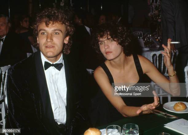 Mats Wilander of Sweden 1988 Men's Singles World Champion with his wife Sonya during the ITF World Champions Dinner at the Pavillion d'Armenonville...
