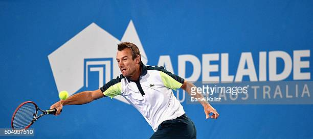 Mats Wilander of Sweden competes against Goran Ivanisevic of Croatia during the 2016 World Tennis Challenge match at Memorial Drive on January 14...