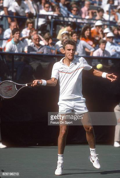 Mats Wilander of Sweden hits a return during the Men's 1984 US Open Tennis Championships circa 1984 at the USTA National Tennis Center in the Queens...