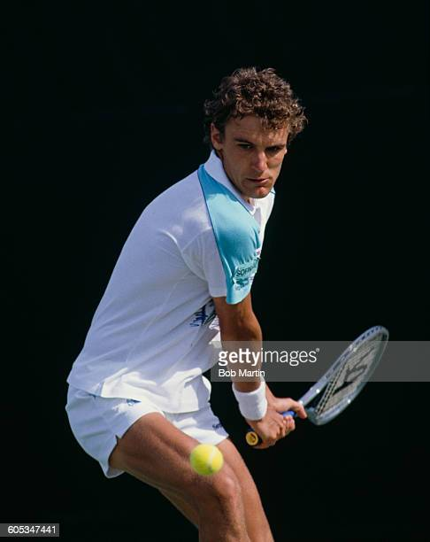 Mats Wilander of Sweden makes a double hand return during a Men's Singles match at the ATP Lipton International Players Championship on 15 March 1988...