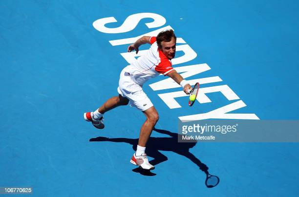 Mats Wilander of Sweden plays a backhand during his match against Wayne Ferreira of South Africa during day two of the Champions Downunder at Sydney...
