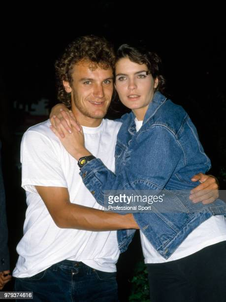 Mats Wilander of Sweden poses with his girlfriend Sonya Mulholland during the US Open in Flushing Meadow New York USA circa September 1986