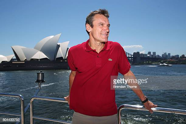 Mats Wilander poses during the FAST4Tennis media opportunity on Sydney Harbour on January 11 2016 in Sydney Australia