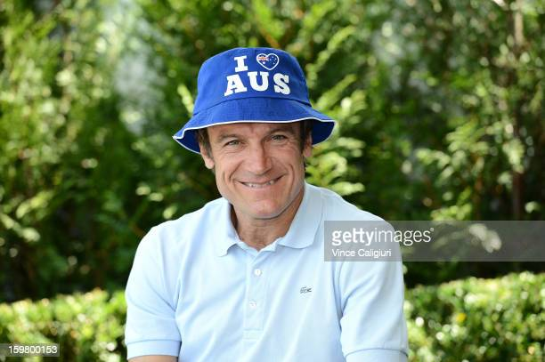 Mats Wilander poses in an 'I love AUS' hat during day eight of the 2013 Australian Open at Melbourne Park on January 21 2013 in Melbourne Australia