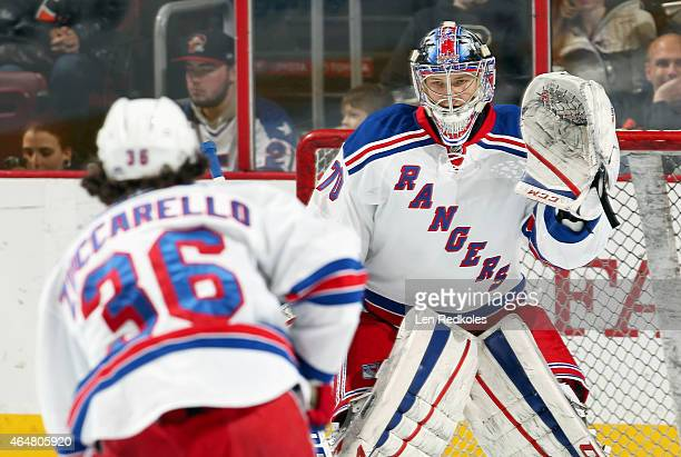 Mats Zuccarello and Mackenzie Skapski of the New York Rangers warm up prior to their game against the Philadelphia Flyers on February 28 2015 at the...