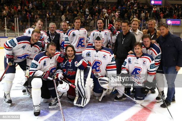Mats Zuccarello and Team Icebreakers after the Team Zuccarello v Team Icebreakers All Star Game at the DNB Arena on August 16 2017 in Stavanger Norway