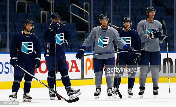 Mats Zuccarello Anze Kopitar Luca Sbisa Mikkel Boedker Zdeno Chara of Team Europe listen to Ralph Krueger's instructions during a practice at the...