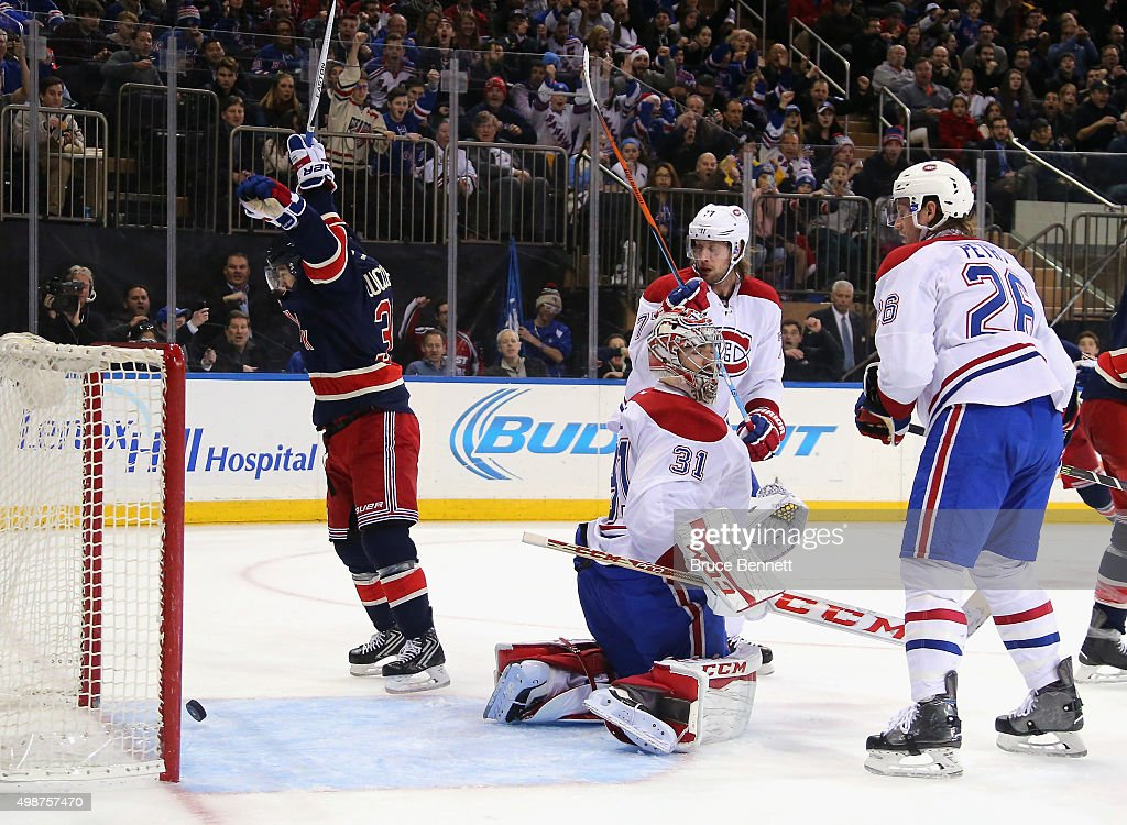 Mats Zuccarello #36 celebrates a powerplay goal by Ryan McDonagh #27 of the New York Rangers at 17:42 of the second period against Carey Price #31 of the Montreal Canadiens at Madison Square Garden on November 25, 2015 in New York City.
