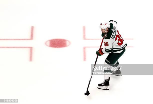 Mats Zuccarello of the Minnesota Wild at Honda Center on October 15, 2021 in Anaheim, California.