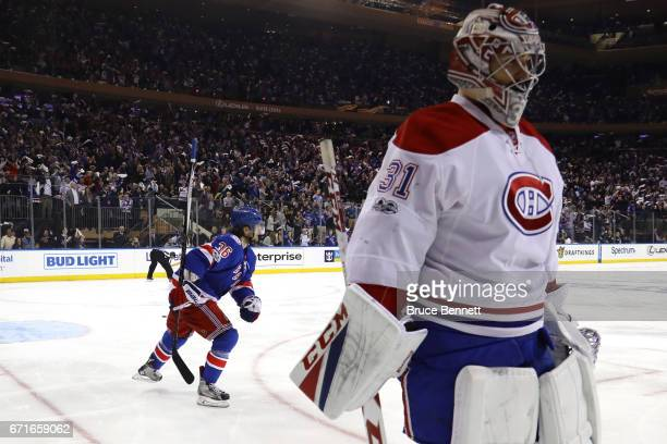 Mats Zuccarello of the New York Rangers celebrates after scoring a goal against the Montreal Canadiens during the second period in Game Six of the...