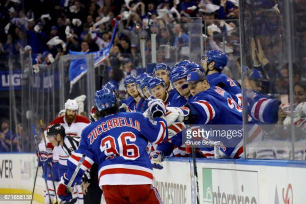 Mats Zuccarello of the New York Rangers celebrates with his teammates after scoring a goal against the Montreal Canadiens during the second period in...