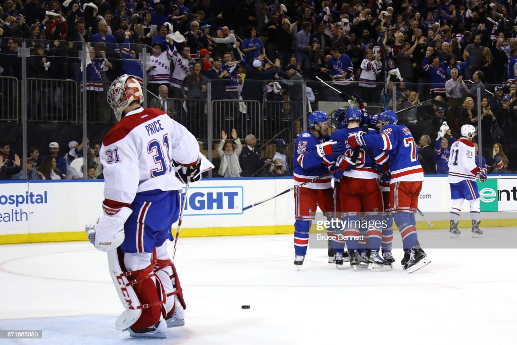 Mats Zuccarello #36 of the New York Rangers celebrates with his teammates after scoring his second goal against Carey Price #31 of the Montreal Canadiens during the second period in Game Six of the Eastern Conference First Round during the 2017 NHL Stanley Cup Playoffs at Madison Square Garden on April 22, 2017 in New York City.