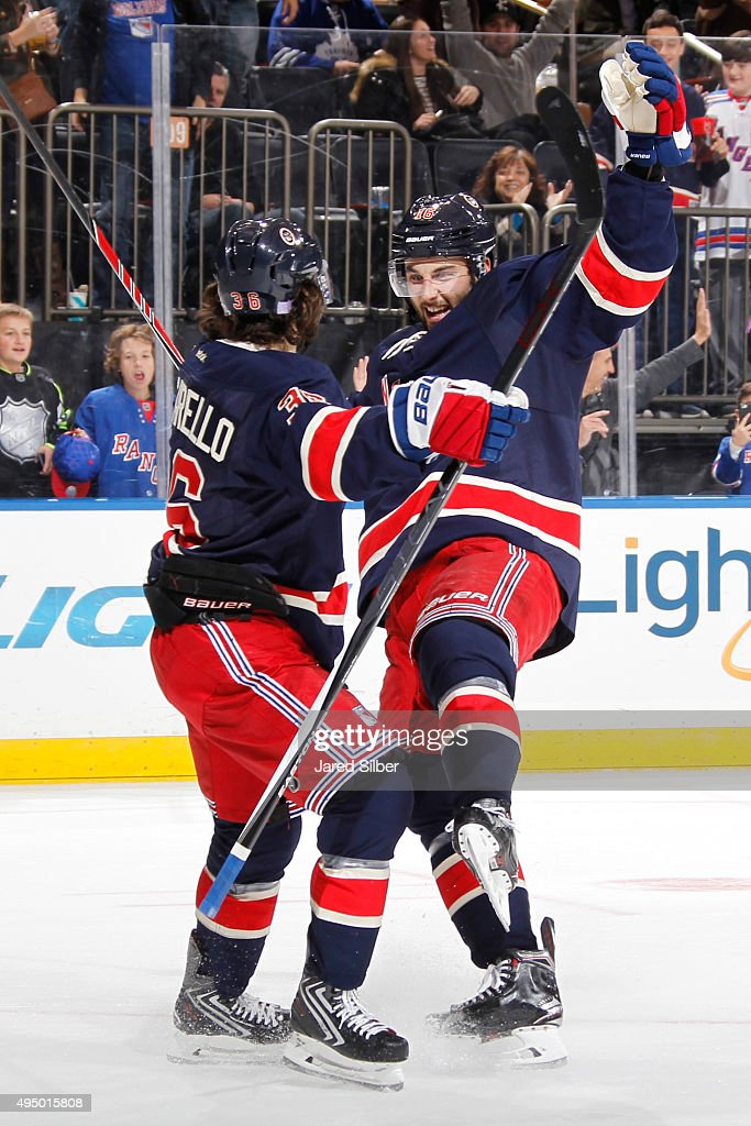 Mats Zuccarello #36 of the New York Rangers is congratulated by Derick Brassard #16 after scoring his third goal of the game in the third period against the Toronto Maple Leafs at Madison Square Garden on October 30, 2015 in New York City.