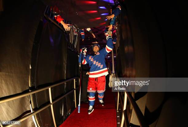 Mats Zuccarello of the New York Rangers leaves the ice after warmups against the New Jersey Devils at Madison Square Garden on December 9 2017 in New...
