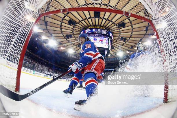 Mats Zuccarello of the New York Rangers reacts after the Rangers give up a second period goal to Marian Gaborik of the Los Angeles Kings at Madison...