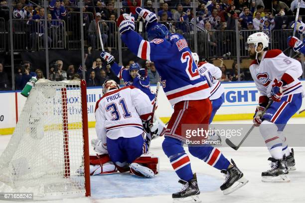 Mats Zuccarello of the New York Rangers scores a goal against Carey Price of the Montreal Canadiens during the second period in Game Six of the...