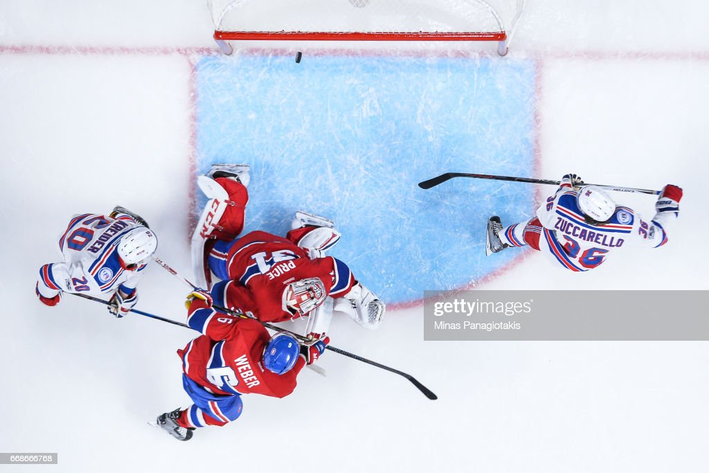 Mats Zuccarello #36 of the New York Rangers scores on goaltender Carey Price #31 of the Montreal Canadiens in Game Two of the Eastern Conference First Round during the 2017 NHL Stanley Cup Playoffs at the Bell Centre on April 14, 2017 in Montreal, Quebec, Canada. The Montreal Canadiens defeated the New York Rangers 4-3 in overtime.