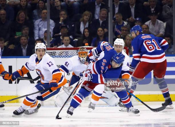 Mats Zuccarello of the New York Rangers skates against the New York Islanders at Madison Square Garden on October 19 2017 in New York City The...