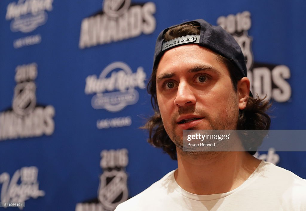 Mats Zuccarello of the New York Rangers speaks with the media during a press availability on June 21, 2016 at the Encore Ballroom in Las Vegas, Nevada. The 2016 NHL Award Ceremony will by held on June 22 at the Encore Theater at Wynn Las Vegas.