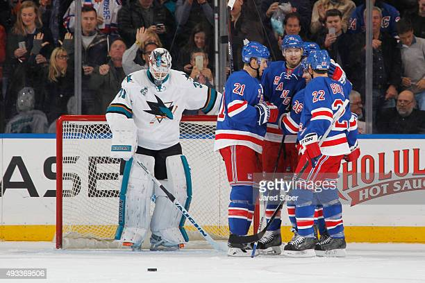Mats Zuccarello Rick Nash Derek Stepan Keith Yandle and Dan Boyle of the New York Rangers celebrate after a second period goal against Martin Jones...