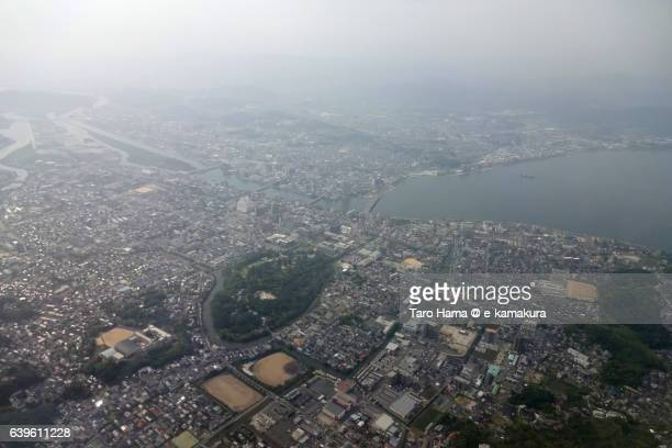 Matsue cityscape aerial view from airplane