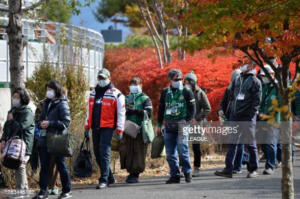 Matsumoto Yamaga fans gather outside the stadium prior to the J.League Meiji Yasuda J2 match between Matsumoto Yamaga and Renofa Yamaguchi at Sunpro...