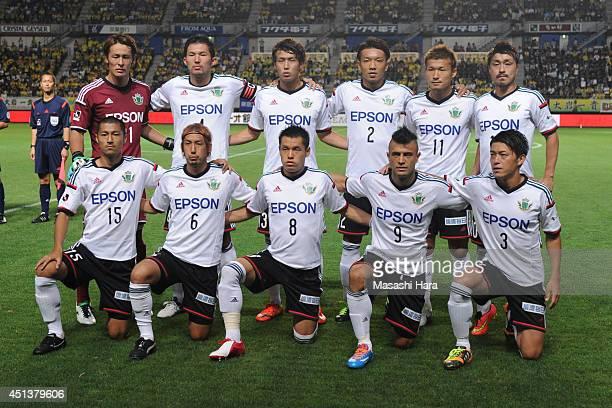 Matsumoto Yamaga FC players pose for photograph prior to the JLeague second division match between JEF United Chiba and Matsumoto Yamaga FC at Fukuda...